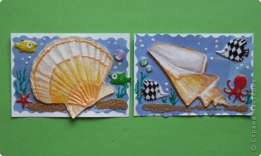 Сегодня не первая серия на тему моря. Мастерицы наделали чудесных карточек, а я опять с салфетками.  Каждая ракушка приклеена на пастельную бумагу и на двойной скотч, немного объемные. фото 3