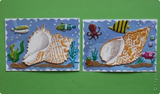 Сегодня не первая серия на тему моря. Мастерицы наделали чудесных карточек, а я опять с салфетками.  Каждая ракушка приклеена на пастельную бумагу и на двойной скотч, немного объемные. фото 4