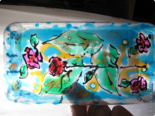 Все работы сделаны витражными красками. В этом витраже фон сделан лаком для ногтей) Шаблоны нашла где-то в интернете. фото 8