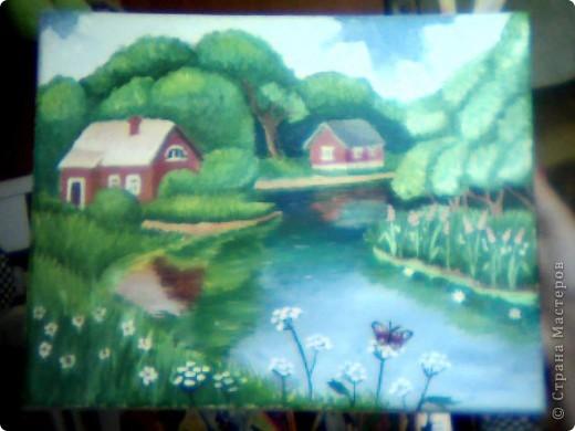 """пейзаж  """"дом у реки"""""""