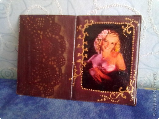 Обложка на паспорт:Распечатка,обложка,акрил.краски,контуры салфетка,лак фото 1