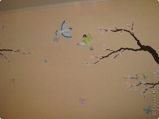 """Роспись стены """"Сакура"""" фото 3"""