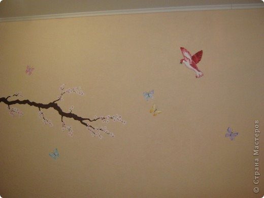 """Роспись стены """"Сакура"""" фото 6"""