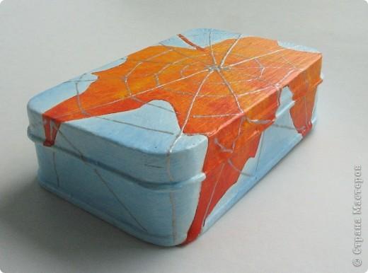 Металлическая коробочка-шкатулка из Икеи. Салфетка, подрисовка акрилом, серебряный контур фото 5