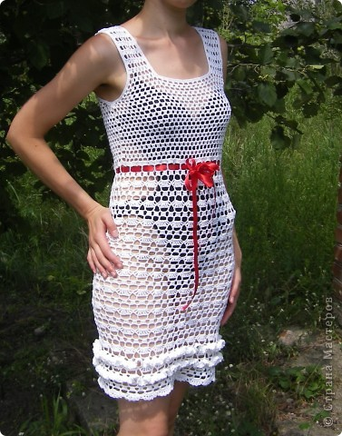 Пряжа Rose (Vita Cotton) Состав:100% хлопок двойной мерсеризации. 150м/50г На платье ушло примерно 350г. Крючки № 3 (верх платья), 2,5 (юбка), 1,75 (обвязка пройм, горловины и оборочки) фото 1