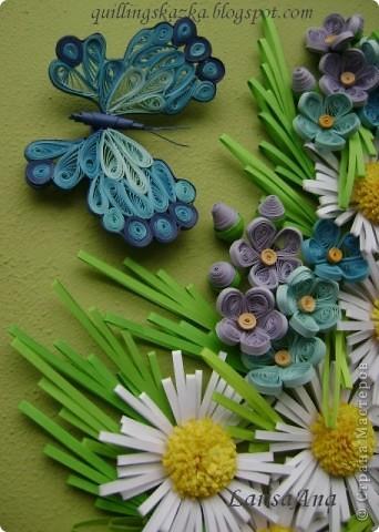 И снова летняя прохлада!!! Ромашки, незабудки и бабочка голубая.... Размер 18х24см фото 2