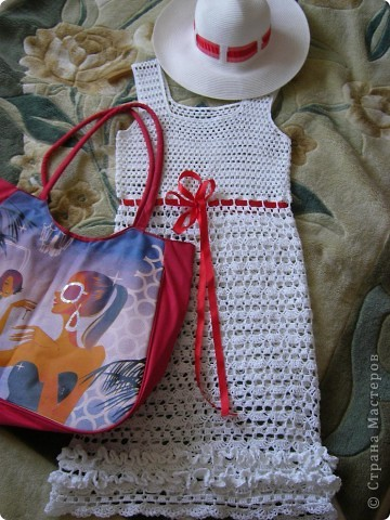 Пряжа Rose (Vita Cotton) Состав:100% хлопок двойной мерсеризации. 150м/50г На платье ушло примерно 350г. Крючки № 3 (верх платья), 2,5 (юбка), 1,75 (обвязка пройм, горловины и оборочки) фото 4