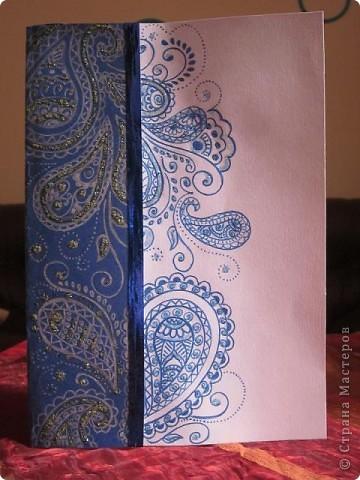 Посмотрела пост Лена-Полина (спасибо ей большое за прекрасный пост) http://stranamasterov.ru/node/221033?c=favorite  и вспомнила о своём увлечении и решила сделать открытку в этом стиле. Вот, что получилось.  фото 1