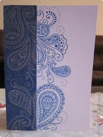 Посмотрела пост Лена-Полина (спасибо ей большое за прекрасный пост) http://stranamasterov.ru/node/221033?c=favorite  и вспомнила о своём увлечении и решила сделать открытку в этом стиле. Вот, что получилось.  фото 2