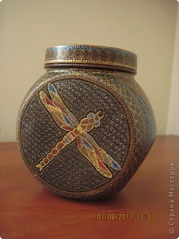 Расписала еше одну баночку, подружку для первой http://stranamasterov.ru/node/180965. Теперь я в них буду хранить травы на чай. фото 3