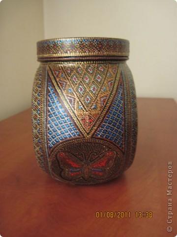 Расписала еше одну баночку, подружку для первой http://stranamasterov.ru/node/180965. Теперь я в них буду хранить травы на чай. фото 2