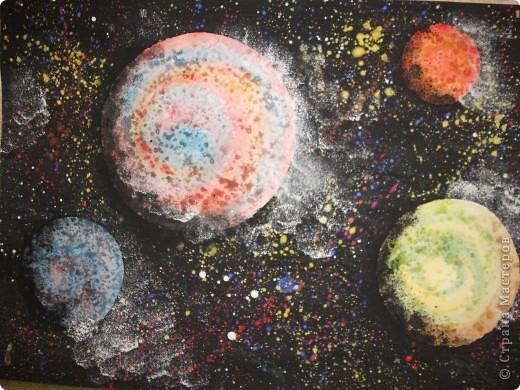 Космический пейзаж(гуашь и соль) фото 1