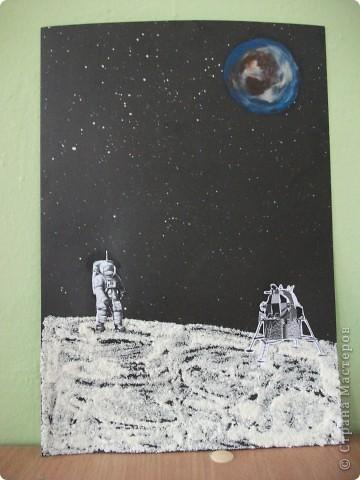 Космический пейзаж(гуашь и соль) фото 2