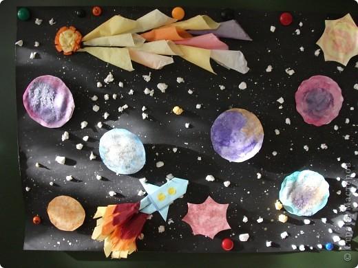 Космический пейзаж(гуашь и соль) фото 3