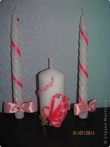 Фото моей первой работы))) Свечи готовила подруге на свадьбу. Мне мое творение понравилось. А вам? фото 1