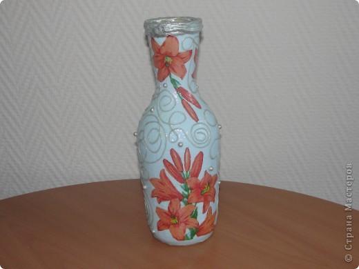 Вот такую бутылочку я сделала по МК мастериц из Страны мастеров. фото 1