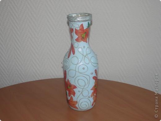 Вот такую бутылочку я сделала по МК мастериц из Страны мастеров. фото 2