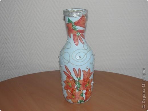 Вот такую бутылочку я сделала по МК мастериц из Страны мастеров. фото 3