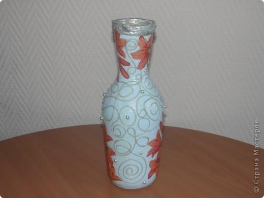 Вот такую бутылочку я сделала по МК мастериц из Страны мастеров. фото 4