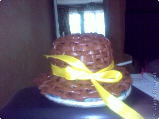 Извините за качество фотографии (фотографировала на телефон), это моя первая шляпка, сделанная плетением. фото 2