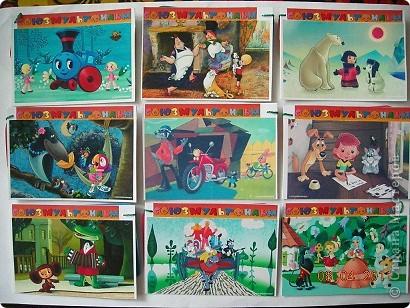 """10 июня студия мультипликационных фильмов """"Союзмультфильм"""" отмечала 75-летие. Большинство известных мультфильмов (например, «Ну, погоди!», «Фильм, фильм, фильм», «Крокодил, Гена», «Ежик в тумане» и другие) сняты именно здесь.   Ну а в моем детстве было очень модно собирать КАЛЕНДАРИКИ.Они были разной  серии-города,животные,цветы,но самые ценные это серия МУЛЬТФИЛЬМЫ. Мы обменивались,бережно их хранили и просто хвастались.  И вот спустя много лет я нашла немного календариков,отсканировала и вот новая,очень простая серия. Прилагается краткое содержание,год выпуска и режиссер. Смотрите и выбирайте. фото 1"""