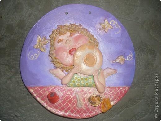 Ещё один ангелочек по мотивам картины Евгении Гапчинской. Основа - гипс. фото 1