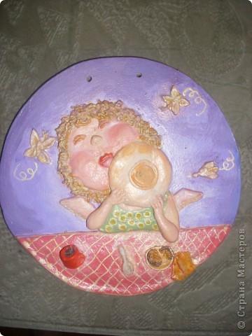 Ещё один ангелочек по мотивам картины Евгении Гапчинской. Основа - гипс. фото 2