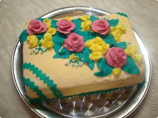 Вот такой торт у меня получился!!! Это моя первая попытка работы с мастикой. фото 3