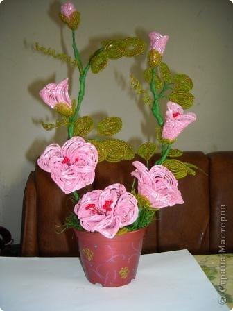 Сегодня будем делать вот такие цветы.Сразу предупреждаю,идея не моя, увидела подобное чудо на бисерном форуме радуга рукоделия.Правда там немного другие листики и вообще красотища....неописуемая.Вдохновилась там. фото 1