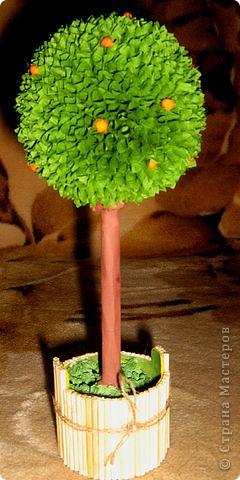 Мне понадобилось: шарик елочный, бумага гофрированная, палочки для шашлыков, гуашь, пластелин... фото 1