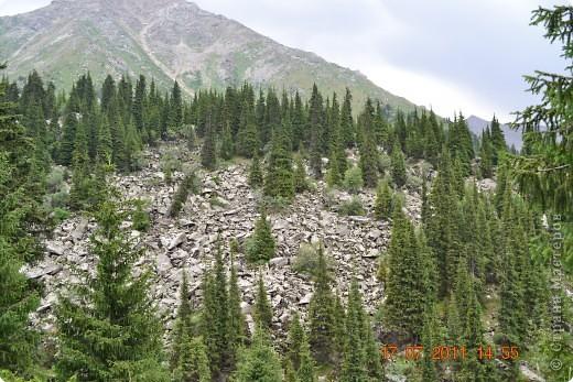 Большое Алматинское озеро (каз. Үлкен Алматы көлі) расположено в ущелье реки Большая Алматинка на высоте 2511 м над уровнем моря, в 28,5 км к югу от Алма-Аты. Лежит во впадине, окружённой со всех сторон горными вершинами.   фото 16