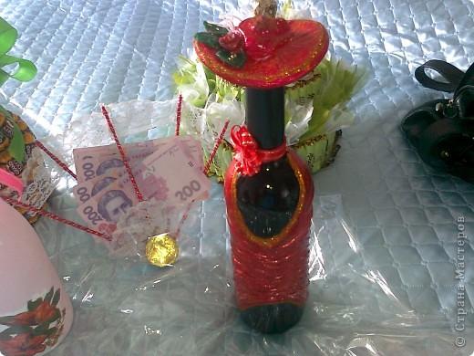 Бутылочка,веер с денюжкой и тортик. фото 1