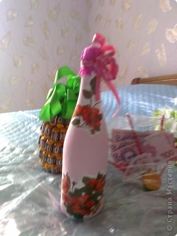 Бутылочка,веер с денюжкой и тортик. фото 2