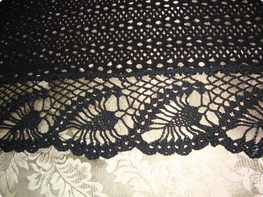 Черная шаль, связанная из х,б ниток.  фото 10