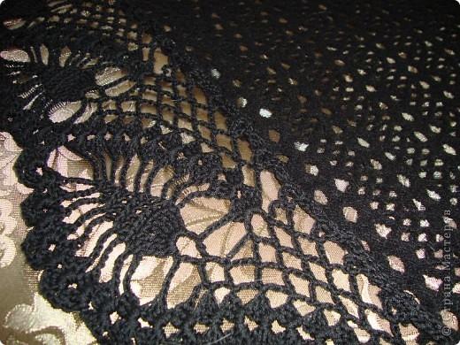 Черная шаль, связанная из х,б ниток.  фото 11