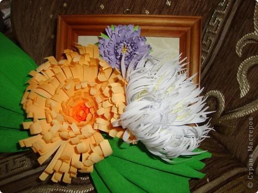Эту композицию я сделала подруге на день рождения, он у нее осенью. Получились хризантемы- астры. Я думала, что похоже на хризантемы, а подруга сказала, что это - астры, ее любимые цветы.  фото 1