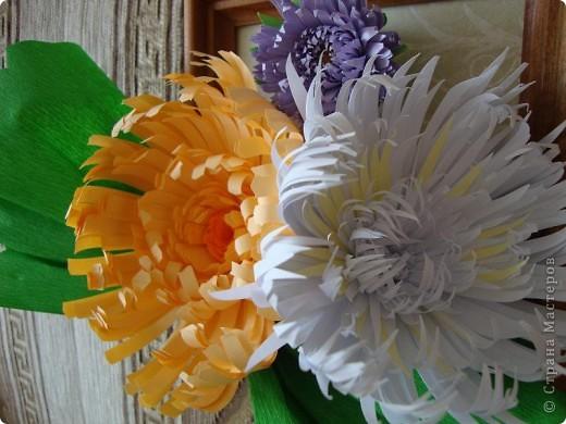 Эту композицию я сделала подруге на день рождения, он у нее осенью. Получились хризантемы- астры. Я думала, что похоже на хризантемы, а подруга сказала, что это - астры, ее любимые цветы.  фото 2