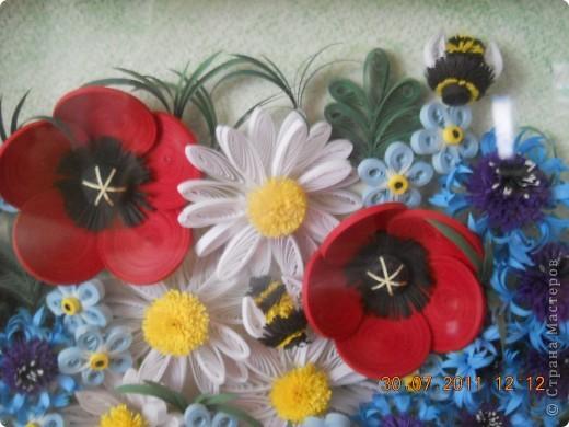 Очень долго делалась эта работа! Начала я её в апреле месяце, а закончила только в июле :( Я то начинала, то бросала, цветочки очень долго лежали в шкафу и ждали сборки. И вот наконец, я смогла :) Работа делалась в подарок маме, надеюсь она осталась довольна. Хочу сказать огромное спасибо мастерицам чьи работы вдохновили на создание этой картины. СБольшущее спасибо Наталье Ковшарь за её васильки и МК по ним http://www.liveinternet.ru/users/4018134/rubric/1981894/. Ох, и промучалась я! но надеюсь оно того стоило. Ромашки собирались на силикон, маки делала из тугих роллов, серединки по мк Инны, шмель по мк ttsa  https://stranamasterov.ru/node/71248. вобщем получилось что-то вот такое! большое и разноцветное :) фото 2