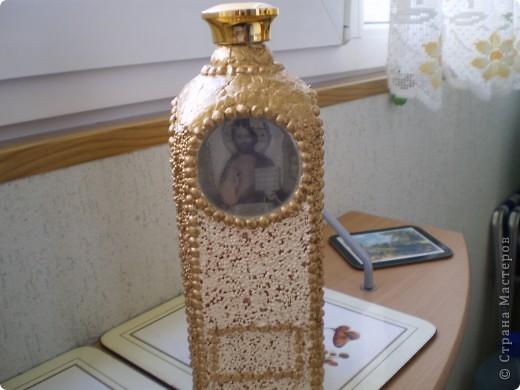Сделала она бутылочку для святой воды.Использовала горох и пшено,яичная скорлупа. фото 1