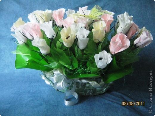 Вот такой букет из 39 конфетных бутонов роз у меня получился. фото 2