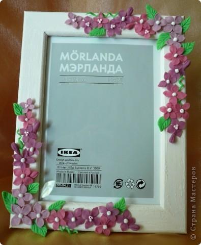 Вот такая рамочка получилась. Училась лепить цветочки...потом собрала из в букетик. За идею благодарна Ксюше 25!!!!!!!!!