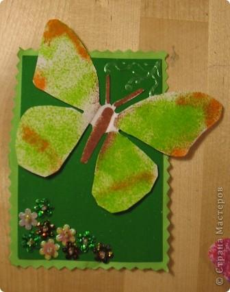 Эту серию создала доченька. Бабочки сделаны с помощью блопенов, а цветы вышиты по картону пайетками. фото 2