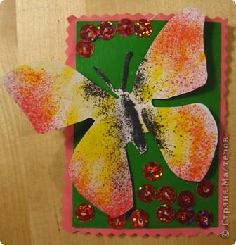 Эту серию создала доченька. Бабочки сделаны с помощью блопенов, а цветы вышиты по картону пайетками. фото 5
