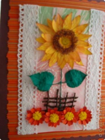 """Доброго времени суток, дорогие мои!!! Я к вам с новой моей открыточкой, которую назвала """"Подсолнушек""""! фото 4"""