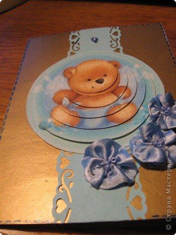 """Из листочка красивого золотистого картона сделала две открыточки одинакового формата. Первая детская. Люблю открытки без подписи - их можно дарить на любые случаи, да и палочка-выручалочка в непредвиденных """"гостевых"""" ситуациях. фото 2"""
