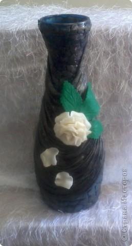 Грустная ваза!!! Первая попытка декорирования бутылки, вижу что есть ошибки, прошу судить не строго! жду ваших комментариев. фото 3