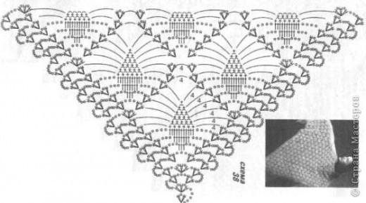 Золотая шаль и схема.  фото 3