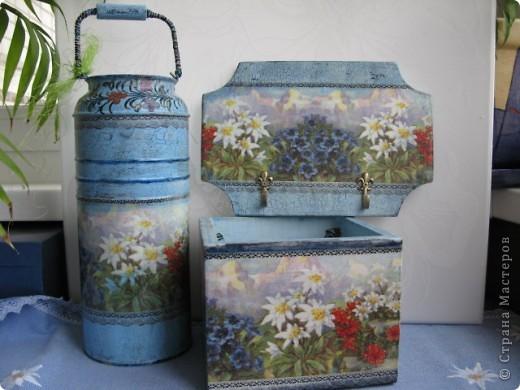 """Набор """"Альпийские цветы"""": бидончик-вазочка; короб для специй, вешалка для полотенца.  фото 1"""
