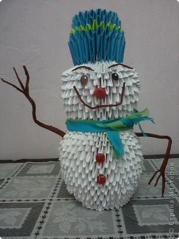 снеговик, сделан по МК одной из мастериц