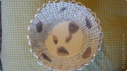 Вот такая плетёночка получилась....сплела, покрыла разбавленным пва, далее покрыла белой акриловой эмалью,затем декупаж, и акриловым лаком на водной основе.(Декупаж делала впервые.) фото 3
